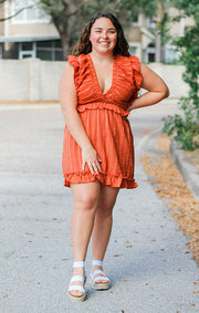 The Ruffle Trim Mini Dress (Rust)