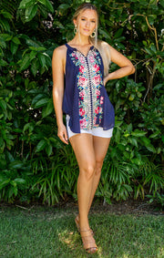 The  Boca Grande Embroidered Tank - Navy