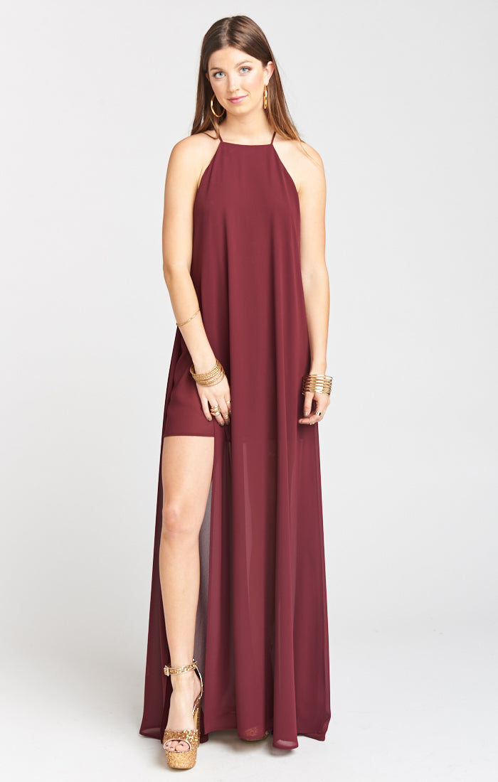 Cabernet Chiffon Bronte Maxi Dress