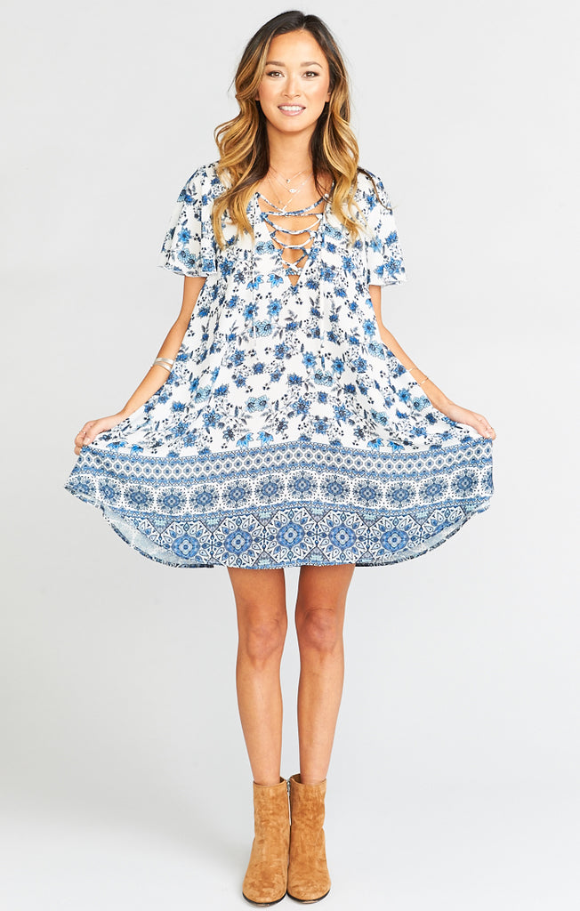 Kylie Casablanca Blues Lace Up Dress