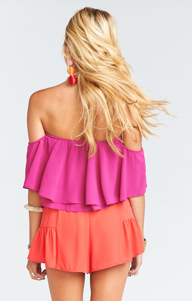 Nica Fuschia Pop Chiffon Ruffle Top