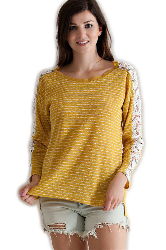 Gold Stripe Game Day Sweater