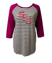 FSU Striped 3/4 Sleeve Raglan Piko (389767856161)