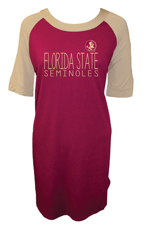 The Norah Garnet & Gold Raglan Piko Dress