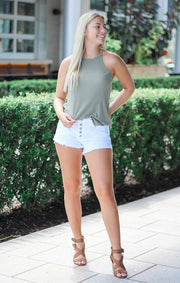 The Essential High Neck Cami - Olive