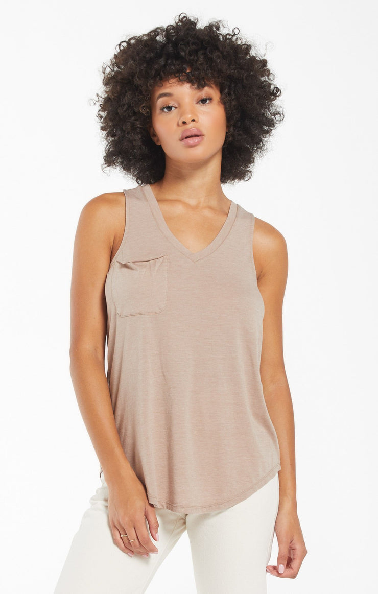 The Pocket Racer Tank (Taupe)