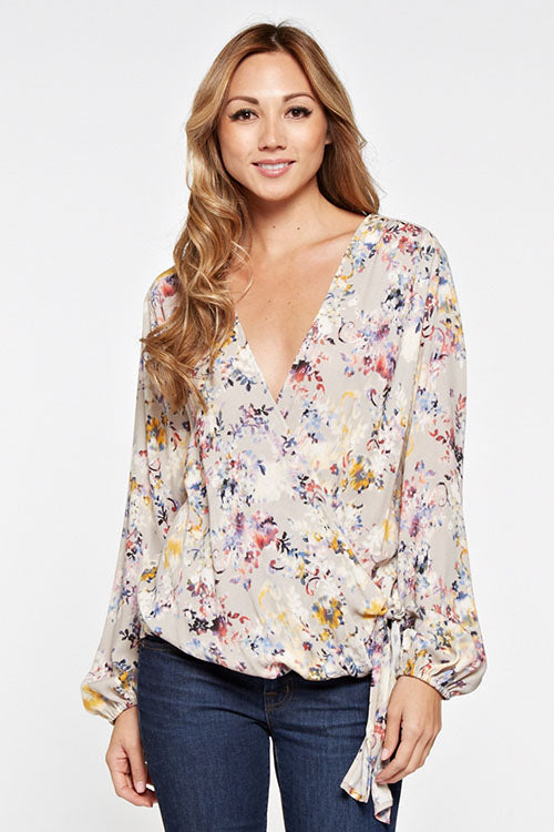 Taupe & Berry Surplice Top