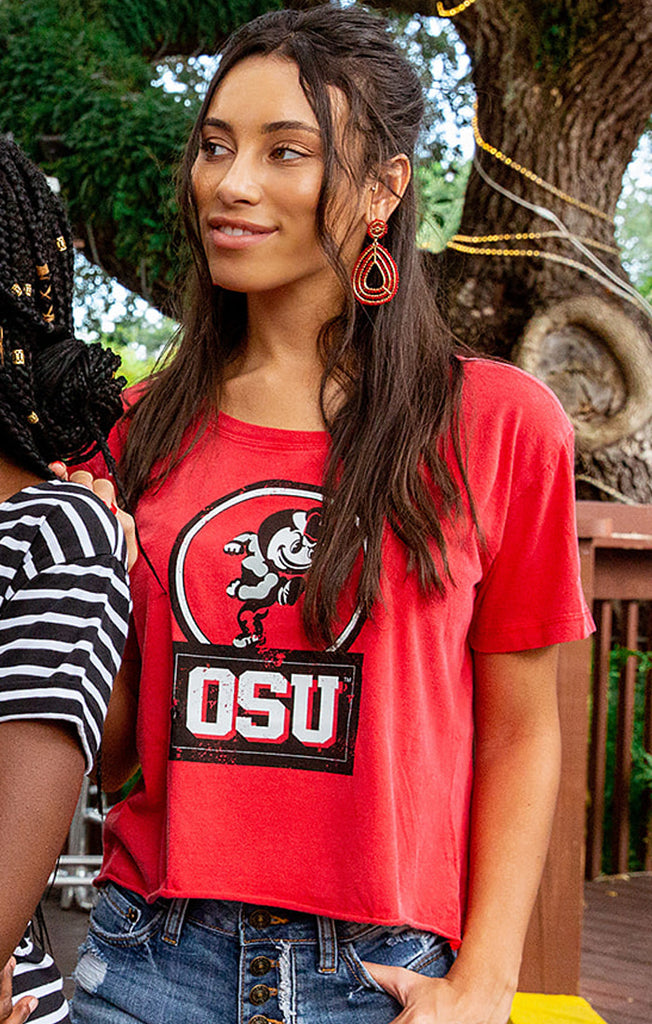 OSU Buckeyes Keep it Cropped Snow Washed Tee
