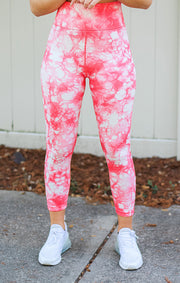 The Tie Dye Seamless Highwaist Legging (Peach)
