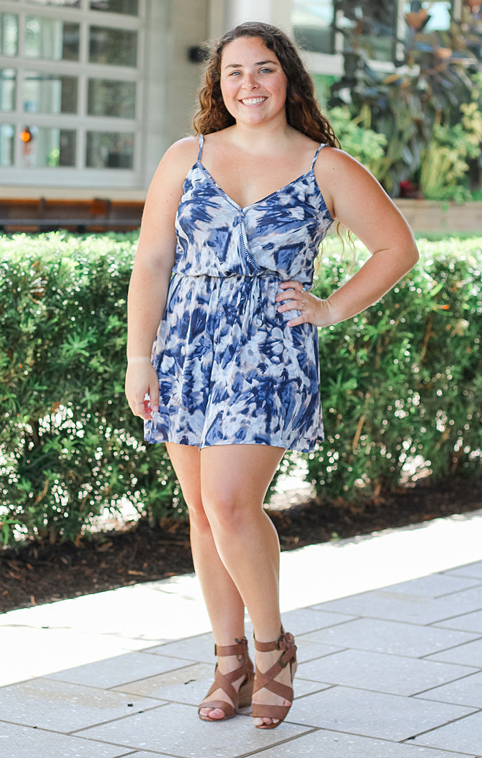 The Summer Tie Dye Romper (Indigo)