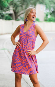 The Tigers Orange & Purple Terry Tank Dress