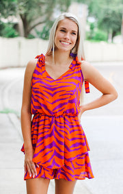 The Tigers Orange & Purple Tie Tank Romper