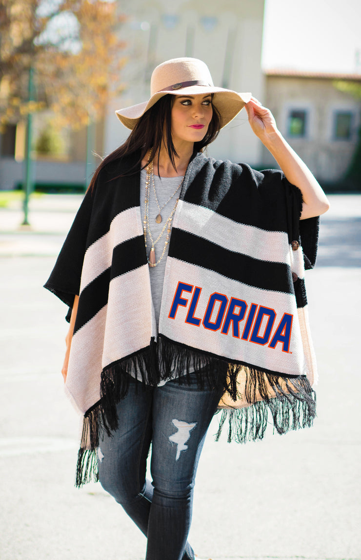 Striped Florida Gators Fringed Sweater Poncho Poncho Game Day Couture - Bows and Arrows FSU Seminoles and UF Gators Women's Game Day Dresses and Apparel (9623049153)
