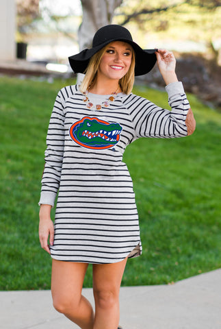 Gators Striped Terry Tunic Dress Game Day Dresses Game Day Couture - Bows and Arrows FSU Seminoles and UF Gators Women's Game Day Dresses and Apparel