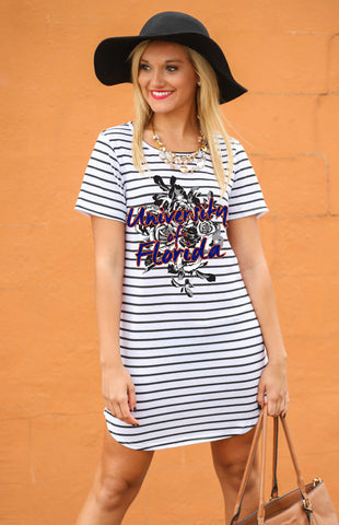 University of Florida Striped Tunic Tee Game Day Dresses Game Day Couture - Bows and Arrows FSU Seminoles and UF Gators Women's Game Day Dresses and Apparel