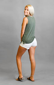 The Miley USF Circle Mock Twist Muscle Tank