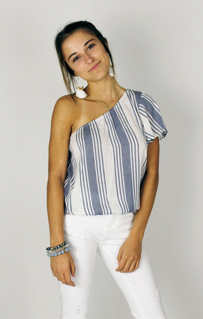 The Paxton Stripe One Shoulder Top