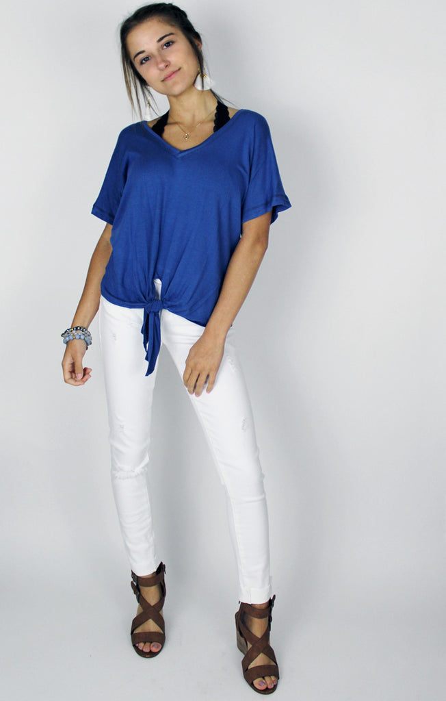 The Denim Blue Tie Front Tee