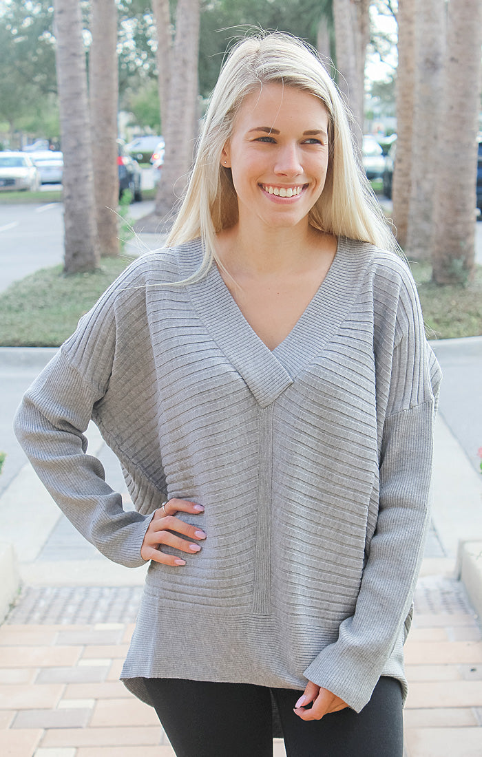 The Stay Cozy Knit Sweater (Grey)