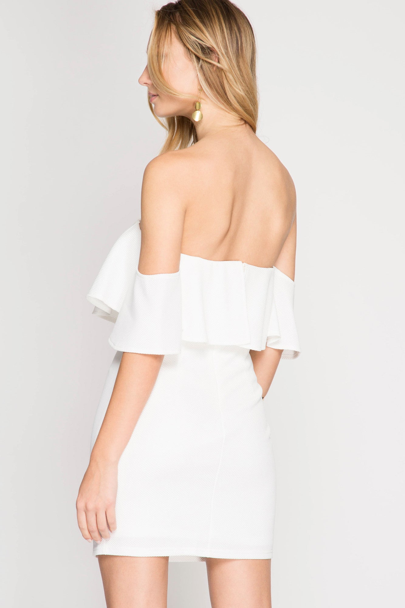 White Ruffle Off Shoulder Dress