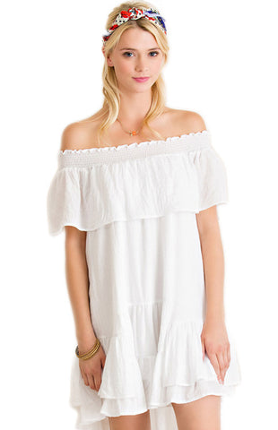 White Ruffle Off Shoulder Game Day Dress Game Day Dresses Entro - Bows and Arrows FSU Seminoles and UF Gators Women's Game Day Dresses and Apparel