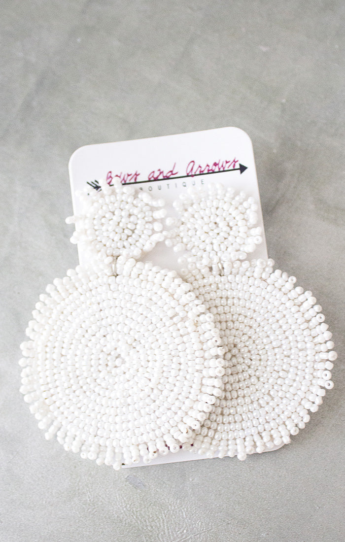 White Beaded Disk Earrings