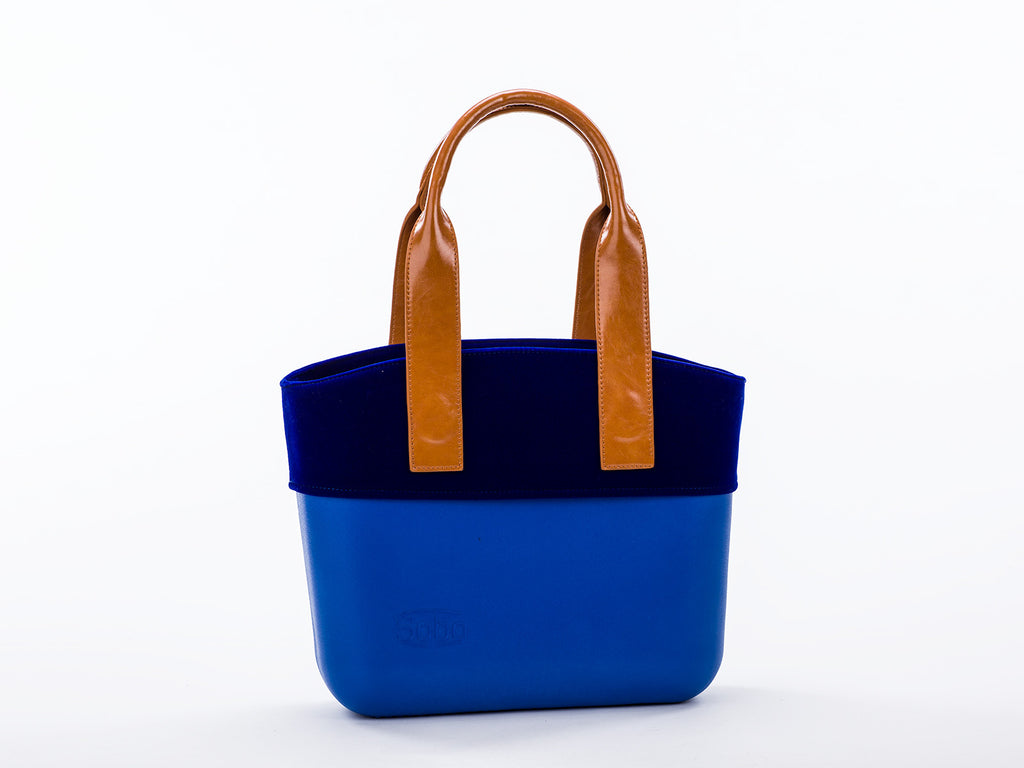 The Azurite Set - Snorkle Blue Body With Blue Velvet Trim and Amber Eco-Leather Handles