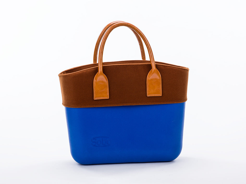 The Bluebonnet Set - Snorkle Blue Body With Brown Velvet Trim and Amber Eco-Leather Handles