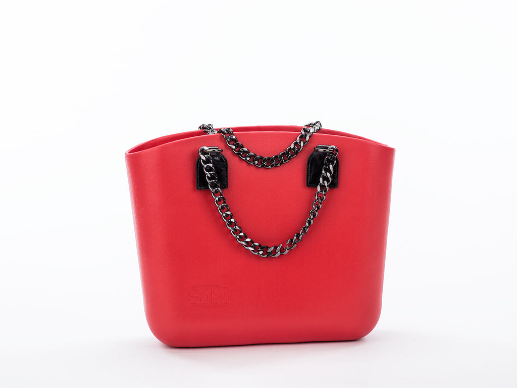 The Carmine Set - Red Body With Onyx Chain and Eco-Leather Handles