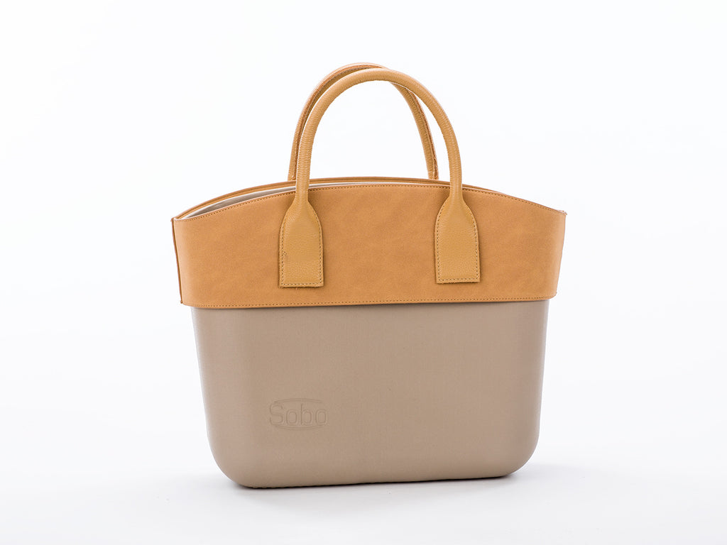 The Carnolite Set - Iced Coffee Body With Caramel Trim and Short Beige Genuine Leather Handles