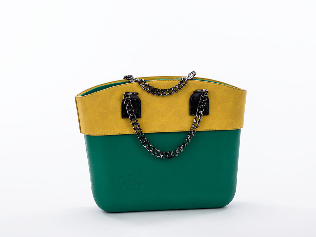 The Emerald Set - Green Body With Olive Alcantara Trim and Onyx Chain & Eco-Leather Handles