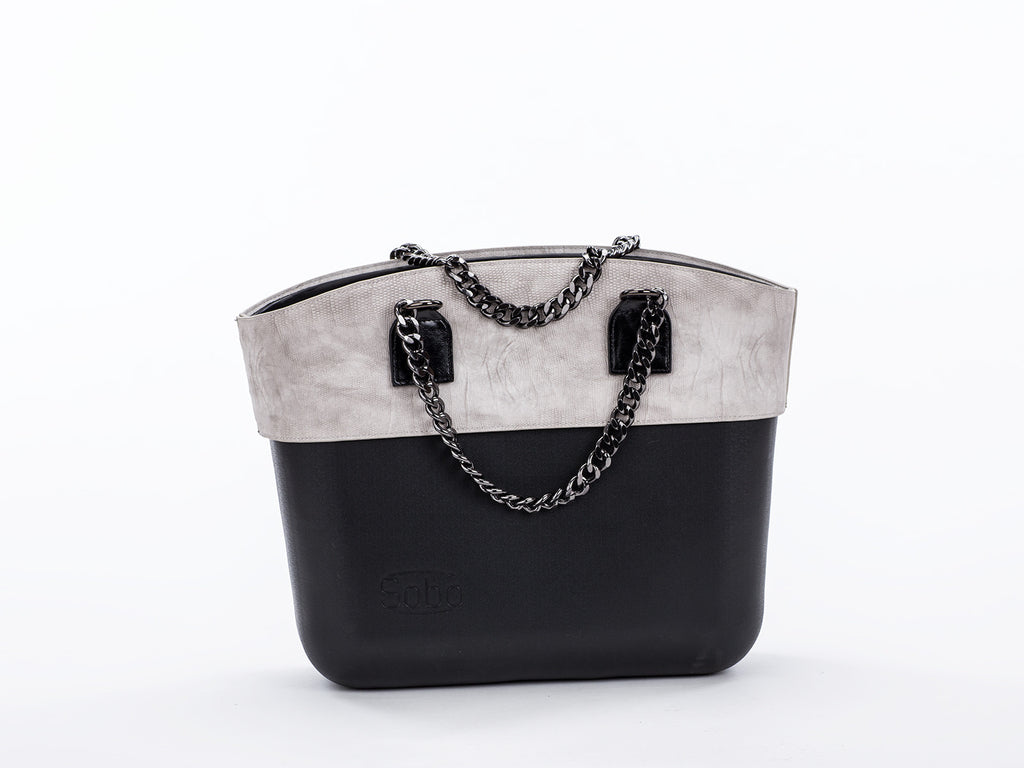 The Emo Set - Black Body With Grey Alcantara Trim and Black Chain & Eco Leather Handles
