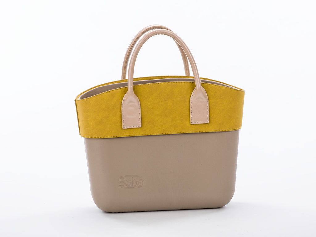 The Galveston Set - Iced Coffee Body With Olive Alcantara Trim and Short Nude Eco-Leather Handles