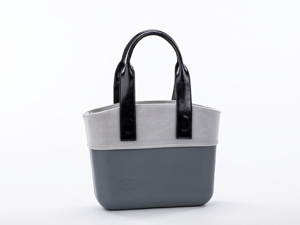 The Hana Set - Grey Body With Grey Alcantara Trim and Long Black Eco-Leather Handles