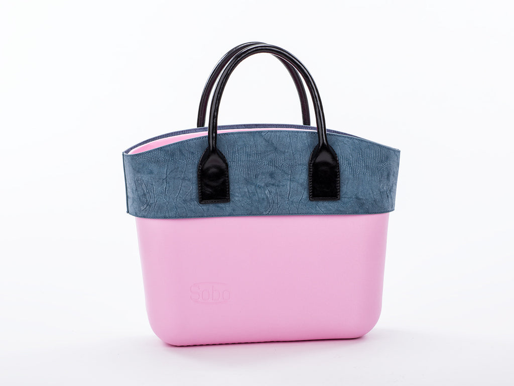 The Laguna Set - Rose Quartz Body With Serenity Alcantara Trim and Short Black Eco-Leather Handles