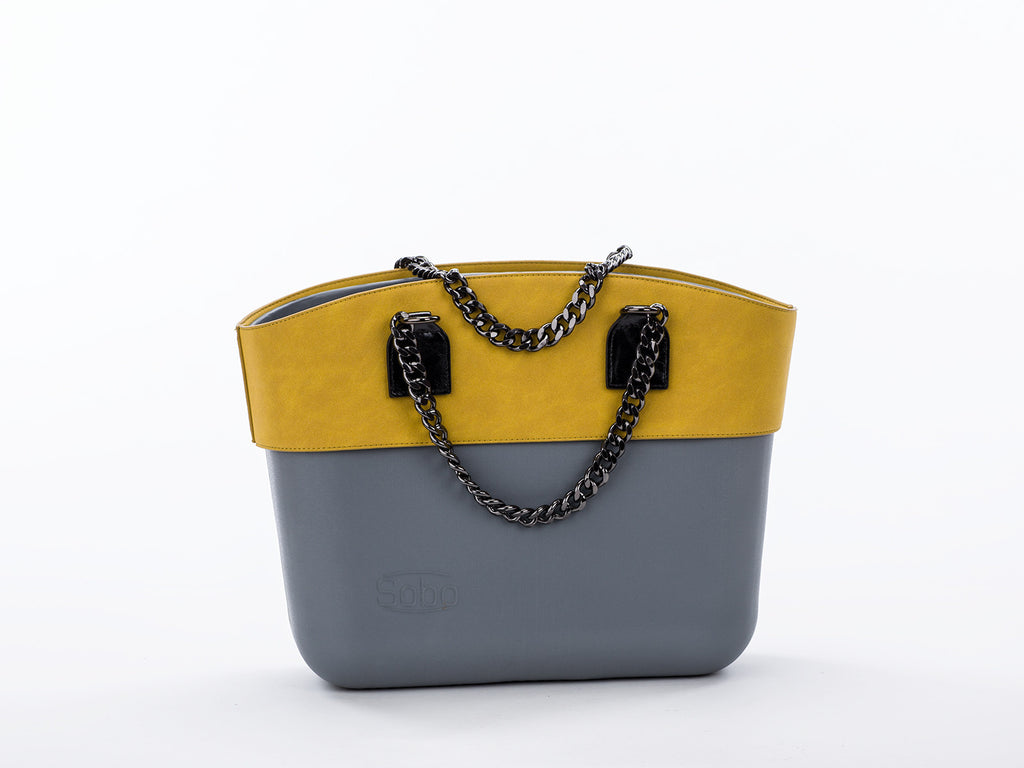 The Palm Beach Set - Grey Body With Olive Trim and Black Chain & Eco-Leather Handles