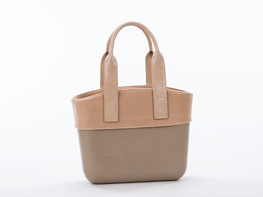 The Sandy Bag Set - Iced Coffee Body With Nude Trim and Beige Eco-Leather Handles