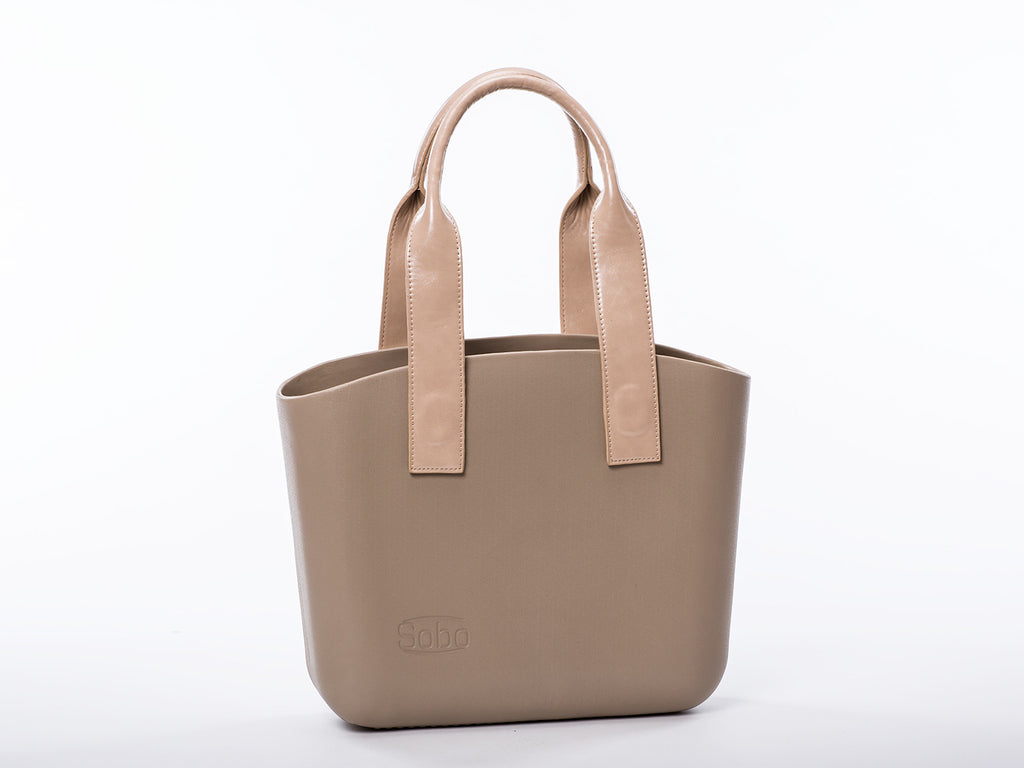 Sobo Fashion Long Beige Eco-Leather Handles on Iced Coffee Body
