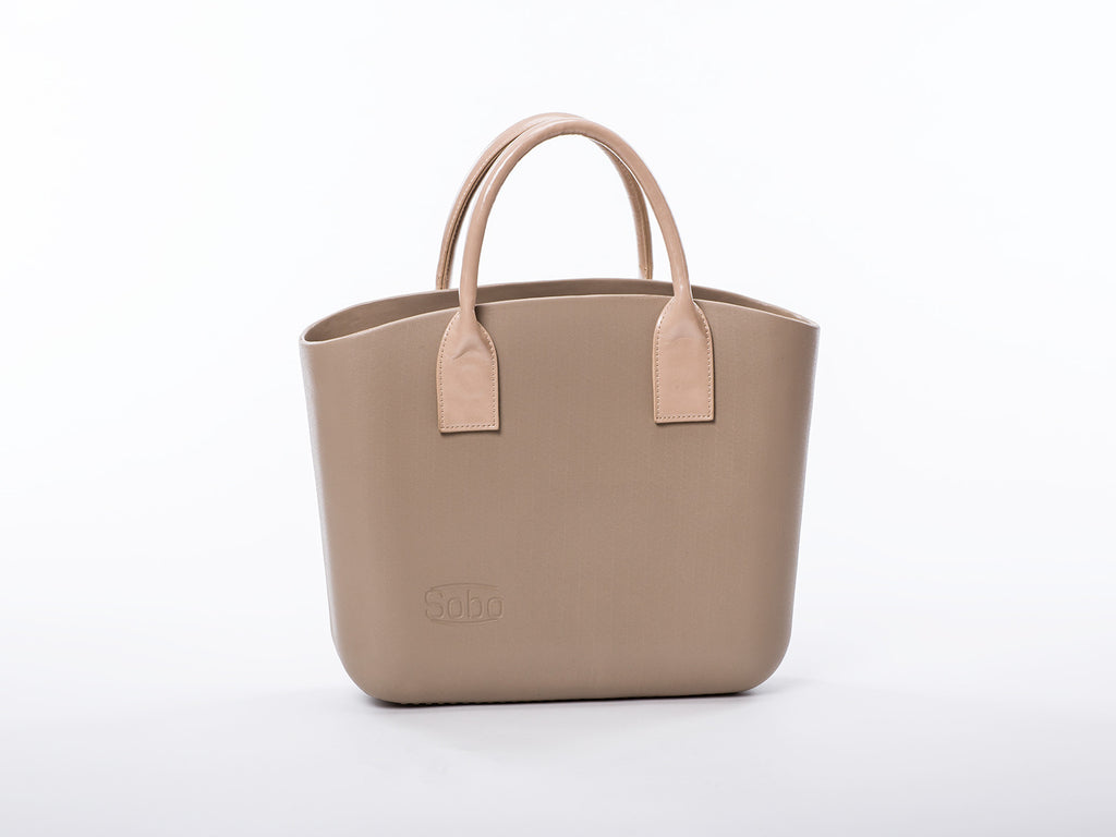 Sobo Fashion Short Beige Eco-Leather Handles on Iced Coffee Body