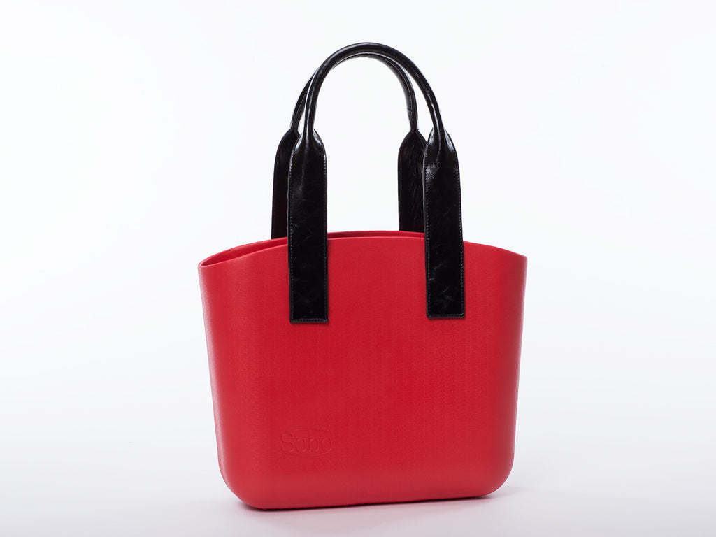 Sobo Fashion Black Eco-Leather Handles on Red Body