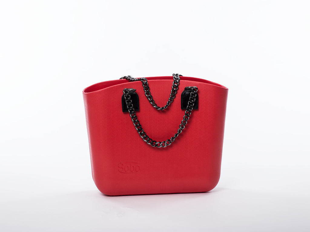Sobo Fashion Black Chain & Eco-Leather Handles on Red Body