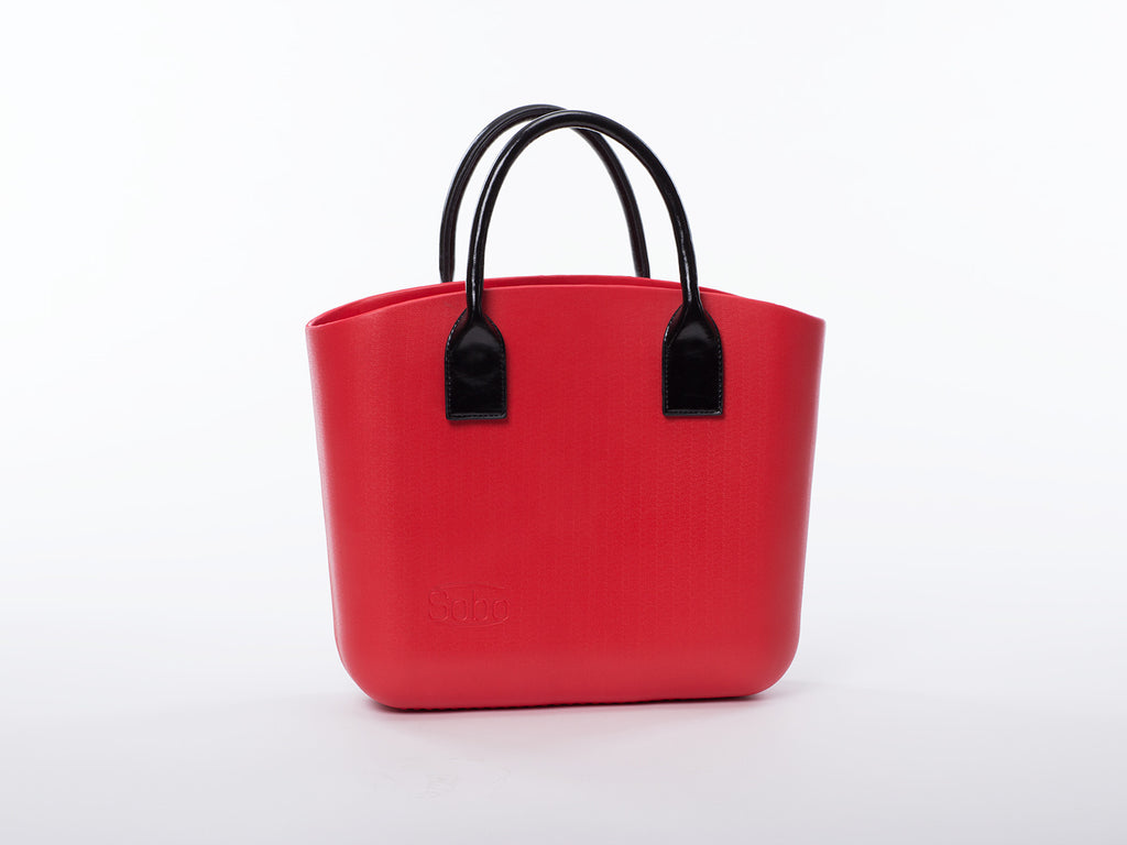 Sobo Fashion Short Black Eco-Leather Handles on Red Body