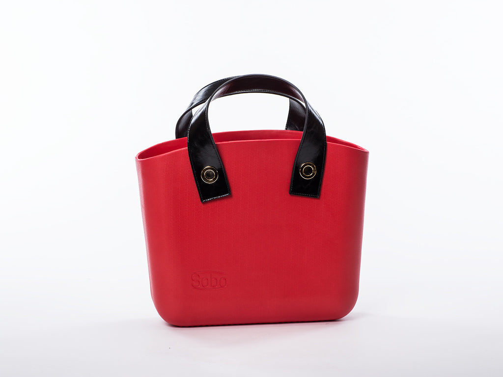 Sobo Fashion Black Eco-Leather Strap with Gold Fasteners on Red Body