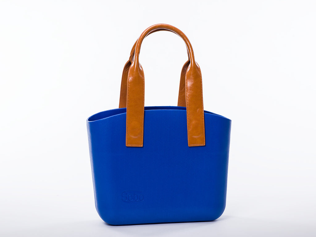 Sobo Fashion Long Amber Eco-Leather Handles on a Snorkel Blue Body