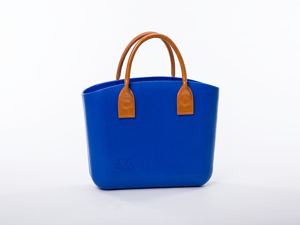 Sobo Fashion Short Amber Eco-Leather Handles on a Snorkel Blue Body