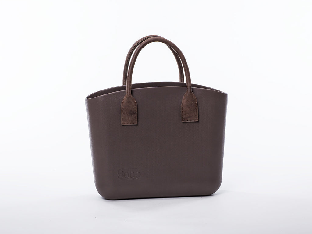 Sobo Fashion Short Matte Brown Eco-Leather Handles on Brown Body