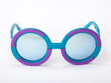 Sobo Sunglasses Light Blue and Purple Frame with Blue Revo Lens