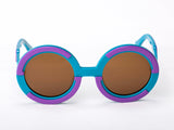 Sobo Sunglasses Light Blue and Purple Frame with Brown Lens