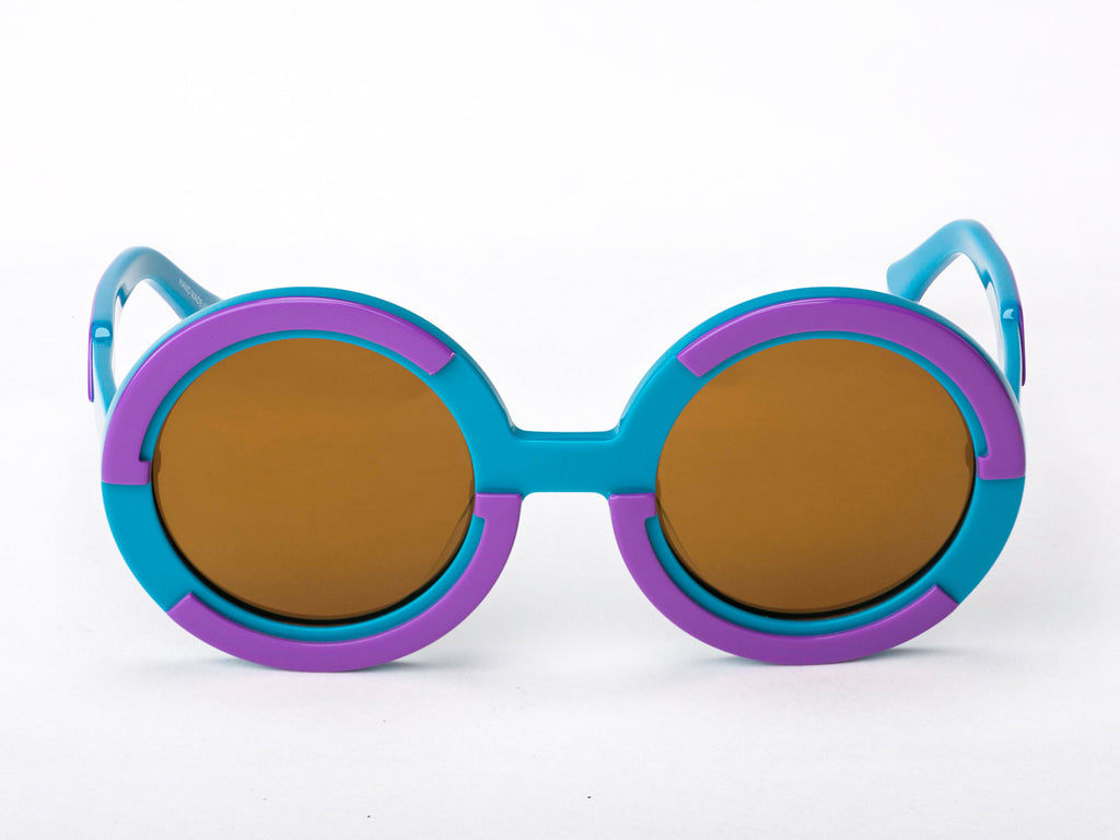 Sobo Sunglasses Light Blue and Purple Frame with Mirror Gold Lens