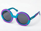 Sobo Sunglasses Light Blue and Purple Frame with Smoke Lens